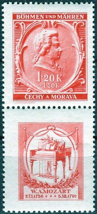 Protektorát Čechy a Morava (1941) č. 70 ** - B.ü.M. - W. A. Mozart - 150. výročí úmrtí - KD