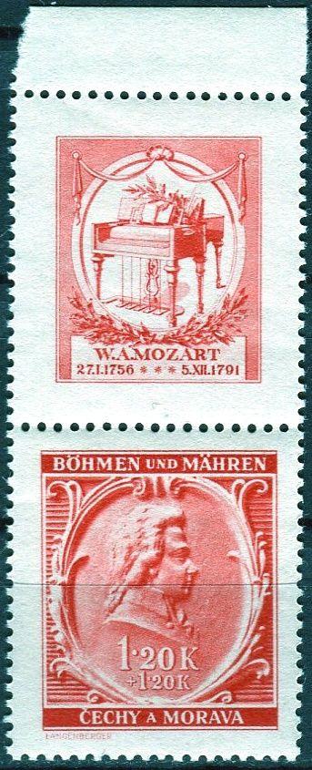 Protektorát Čechy a Morava (1941) č. 70 ** - B.ü.M. - W. A. Mozart - 150. výročí úmrtí - KH