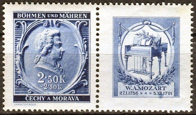 Protektorát Čechy a Morava (1941) č. 71 ** - B.ü.M. - W. A. Mozart - 150. výročí úmrtí - KP