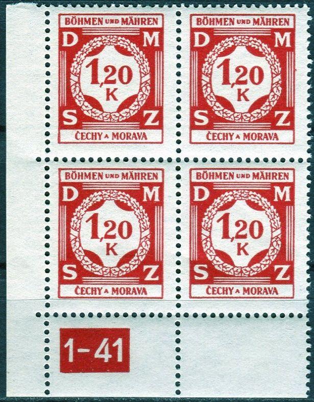 (1941) č. SL 7 ** - Protektorát Čechy a Morava - 4-bl - Služební známky
