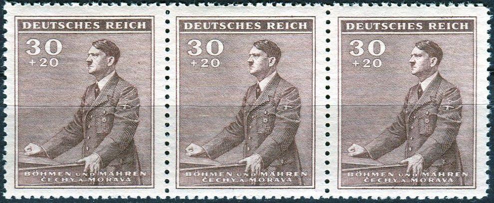 Protektorát Čechy a Morava (1942) č. 74 ** - B.ü.M. - 3-bl - 53. narozeniny A. Hitlera