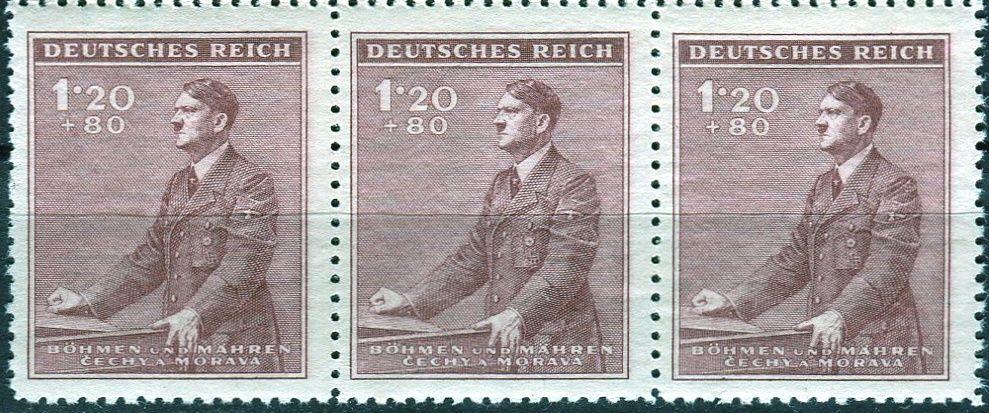 Protektorát Čechy a Morava (1942) č. 76 ** - B.ü.M. - 3-bl - 53. narozeniny A. Hitlera