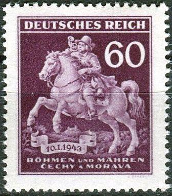 Protektorát Čechy a Morava (1943) č. 102 ** - B.ü.M. - Den poštovní známky - DV - bod na sedle