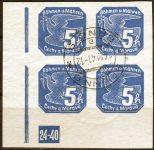 (1939) č. NV 2 O - B. ü. M. - 4-bl - Novinové známky (24-40 L)