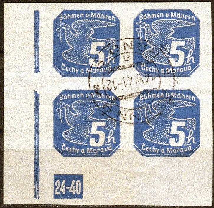 Protektorát Čechy a Morava (1939) č. NV 2 O - B. ü. M. - 4-bl - Novinové známky
