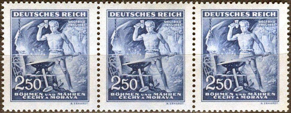 Protektorát Čechy a Morava (1943) č. 110 ** B.ü.M. - 3-bl - 130. výročí narození Richarda Wágnera - DV 90/2 - tmavý bod na kovadlině, tmavý bod za rukou