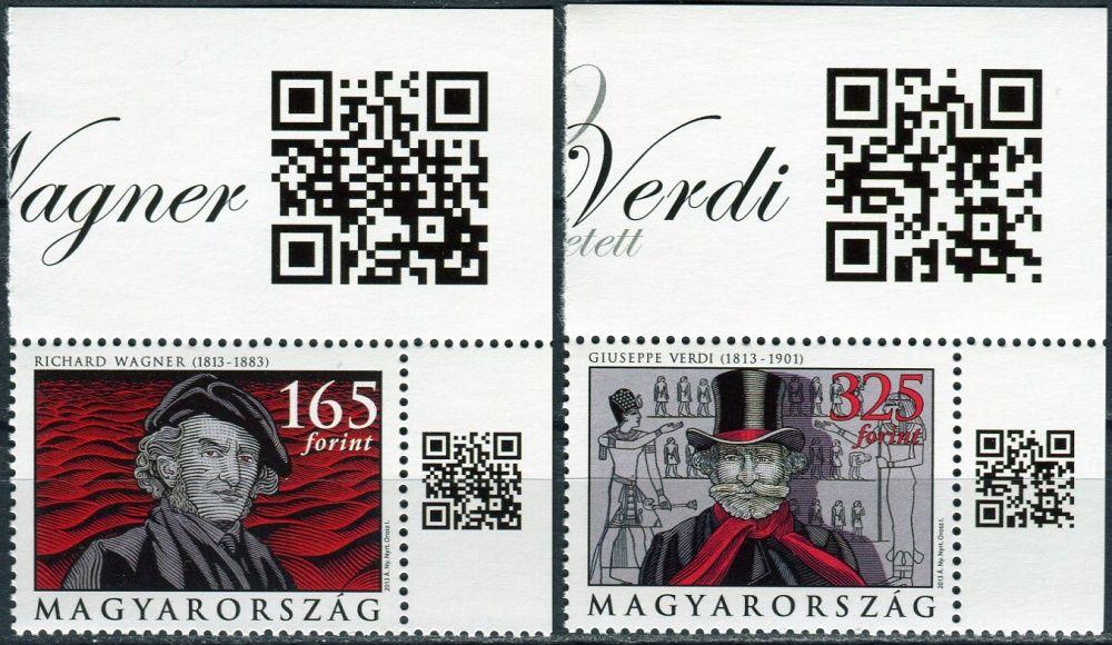 (2013) MiNr. 5599 - 5600 ** - Maďarsko - 200. narozeniny Richarda Wagnera a Giuseppe Verdiho