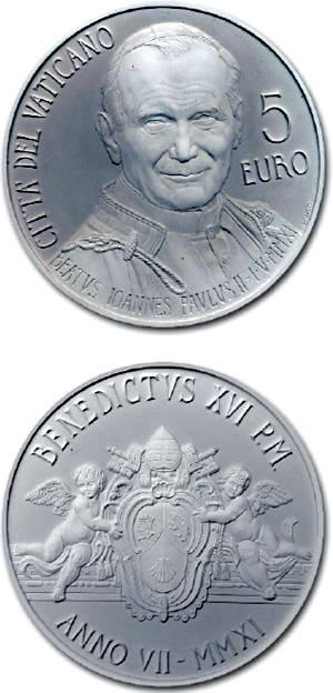 (2011) - 5 € Ag - Vatikán - Blahořečení papeže Jana Pavla II. (proof) Vatican City