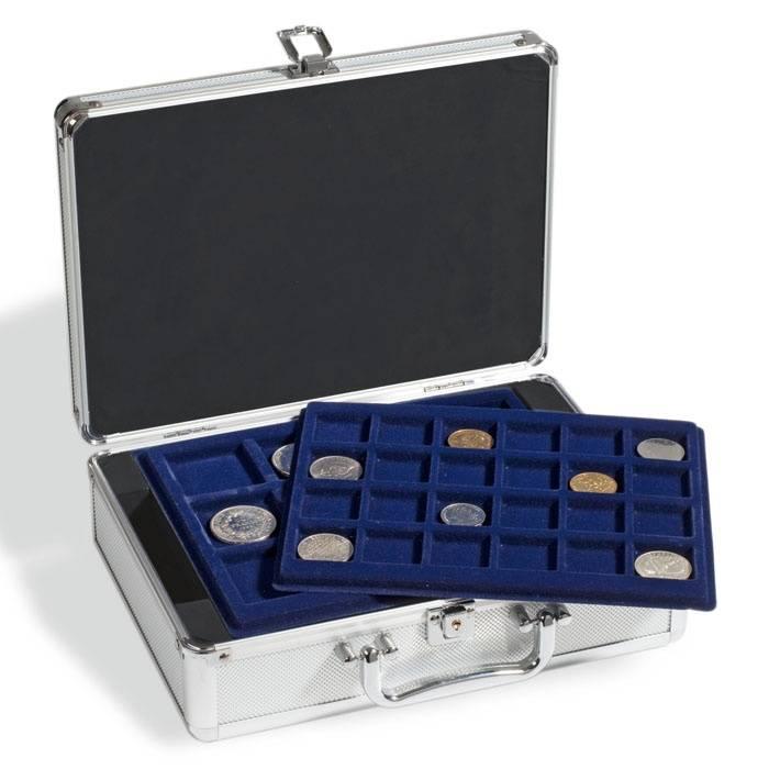 Leuchtturm kufřík CARGO S6 na 112 mincí - kufr + 6 plat - modrý velur