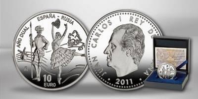 (2011) - 10 € Ag - Španělsko - Rok Ruska a Španělska (proof)