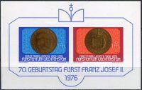 (1976) MiNr. 649 - 650 ** - Lichtenštejnsko - BLOCK 10 - 70. narozeniny prince Franze Josefa II.