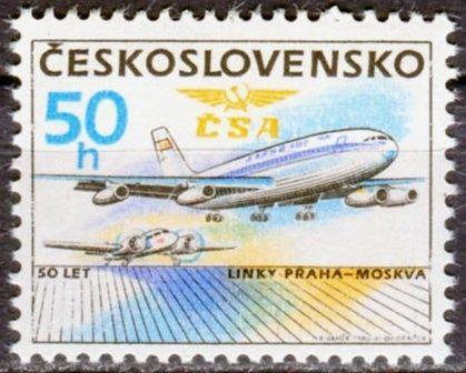 (1986) č. 2743 ** - ČSSR - 50 let linky Praha - Moskva