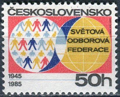 (1985) č. 2706 ** - ČSSR - 40. výročí světové odborové federace