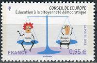 (2013) MiNr. 71 ** - Francie - Rada Evropy: výchova je demokratické občanství