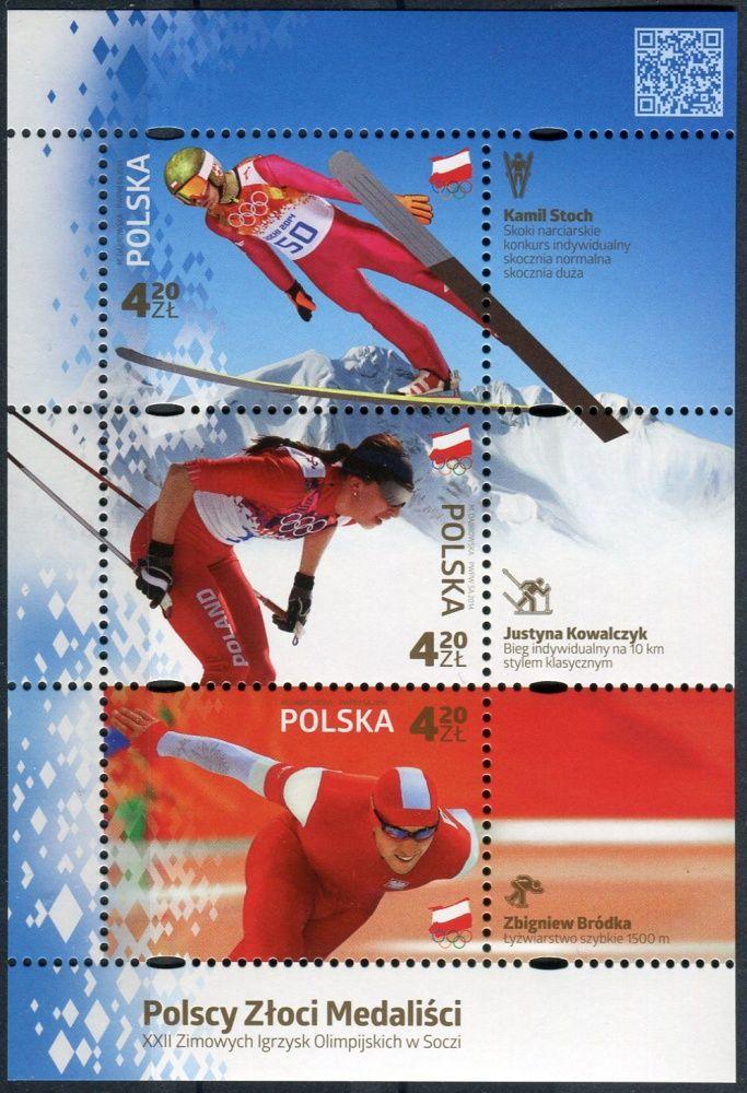 (2014) MiNr. 4671 - 4673 ** - 3 x 4,2 Zl - Polsko - BLOCK 225 - Zlatým medailistou na zimních olympijských hrách, Soči