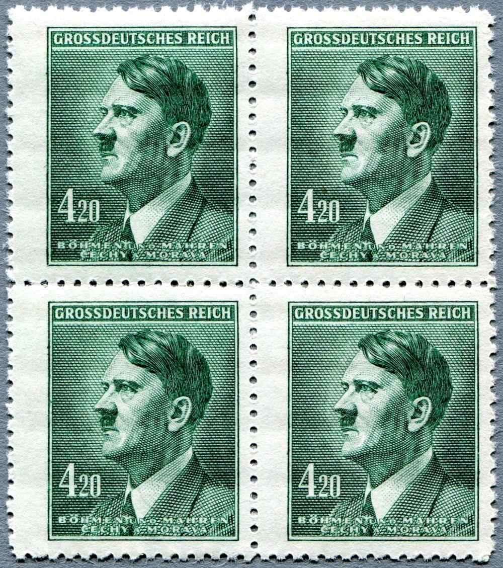 Protektorát Čechy a Morava (1945) č. 122 ** - 4-bl - B.u.M. - 4,20 K - Adlof Hitler (výplatní zn.)