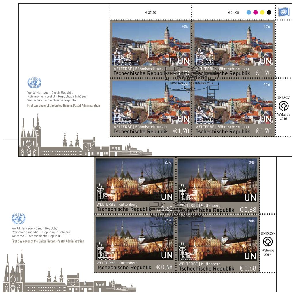 (2016) FDC 925 -926 (4-bl) - OSN Vídeň - Světové dědictví - Česká republika
