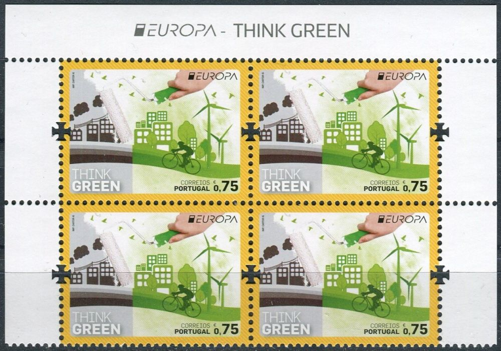 (2016) MiNr. 4134 ** - Portugalsko - 4-bl - Evropa: Myslíme zeleně - s nápisem