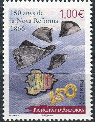 """(2016) MiNr. 802 **- € 1,00 - Andora (Fr.) -  150. výročí """"Nova Reforma"""" z roku 1866"""