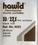 Hawidky černé, přířez 33 x 27,5 mm, 50 ks - klemmtaschen