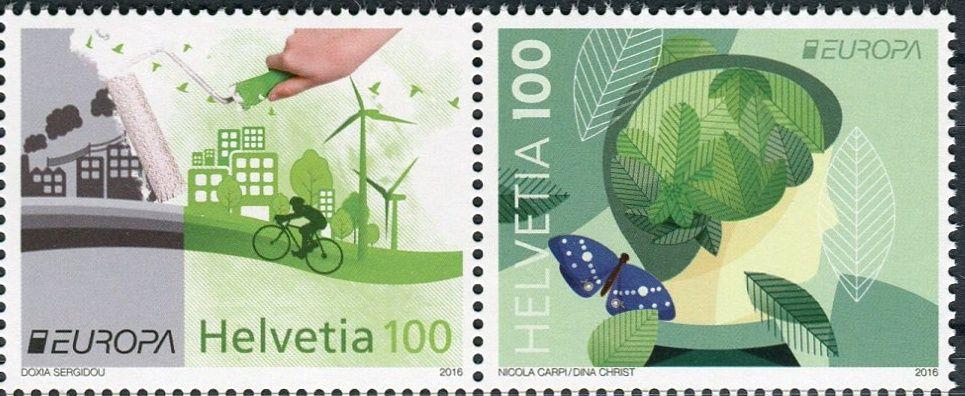 (2016) MiNr. 2452 - 2453 ** 100+100 C - Švýcarsko -  Europa: Šetrnost vůči životnímu prostředí