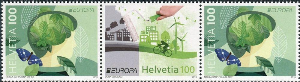 (2016) MiNr. 2452 - 2453 ** 3 x 100 C - Švýcarsko -  Europa: Šetrnost vůči životnímu prostředí