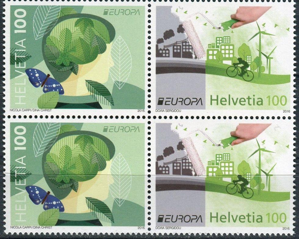 (2016) MiNr. 2452 - 2453 ** 4 x 100 C - 4-bl - Švýcarsko - Europa: Šetrnost vůči životnímu ...