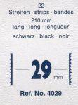 Hawidky černé, pásky 210 x 29 mm, 22 ks - schaufix - vkládací