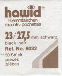 Hawidky černé, přířez 23 x 27,5 mm, 50 ks - klemmtaschen