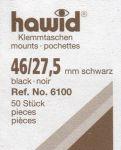 Hawidky černé, přířez 46 x 27,5 mm, 50 ks - klemmtaschen