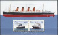 "(2015) MiNr. 2129 - 2130 ** - Irsko - BLOCK 95 - 100. výročí potopení ""Lusitanie"""