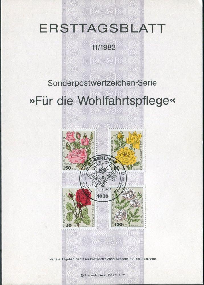 (1982) ETB 11/1982 - nálepní list - MiNr. 680 - 683 ** - Berlín - západní - růže
