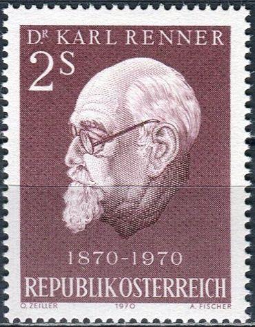 (1970) MiNr. 1351 ** - Rakousko - 100. narozeniny Karla Rennera
