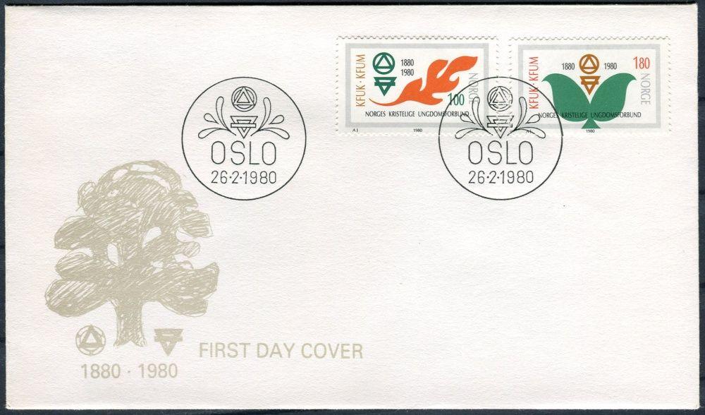 (1980) FDC - MiNr. 809 - 810 - Norsko - 100 let norské křesťanské ligy