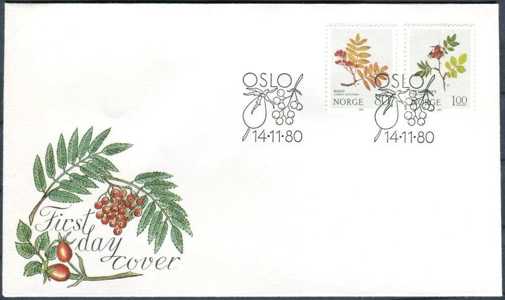 (1980) FDC - MiNr. 825 - 826 - Norsko - Vánoce: Růžové rostliny