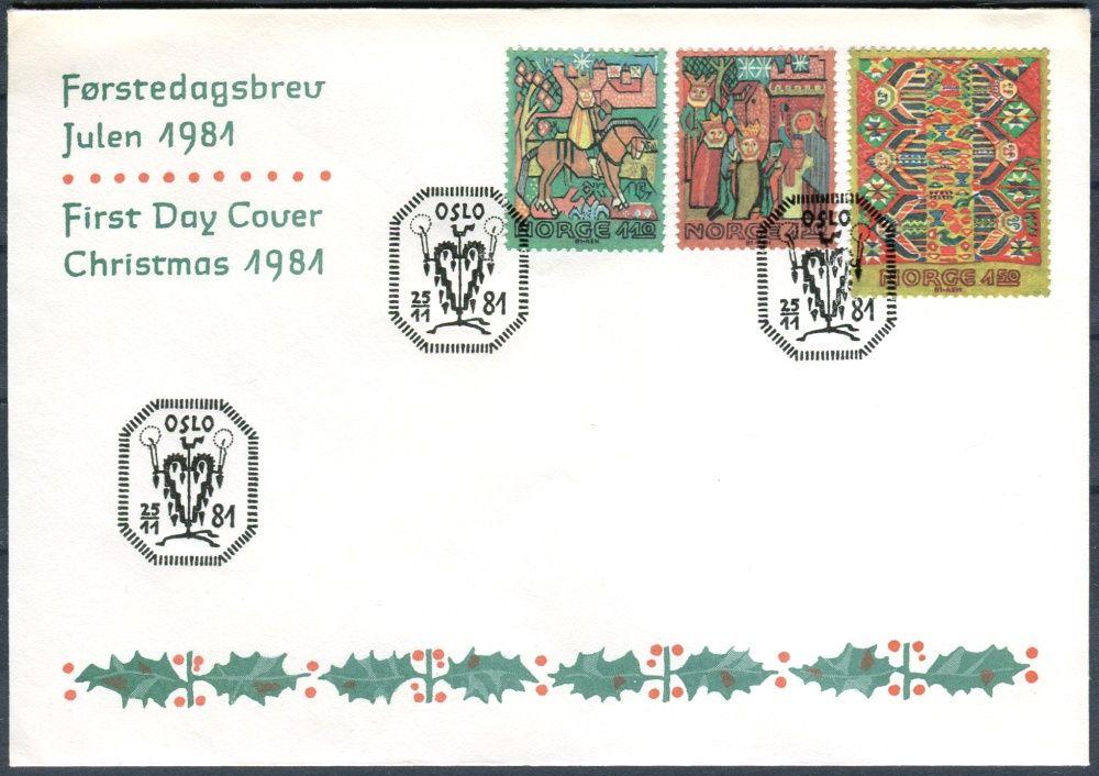 (1981) FDC - MiNr. 850 - 852 - Norsko - Vánoce: Umělecké tkaní