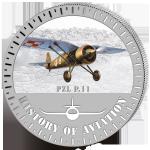 (2014) 5000F - Burundi - stříbrná - letadlo PZL P.11 (proof)