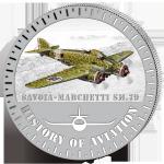 (2015) 5000F - Burundi - stříbrná - letadlo Savoia-Marchetti SM.79 (proof)