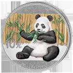 (2017) 10 Juanů - Čína - stříbrná - Panda - kolorovaná (proof)