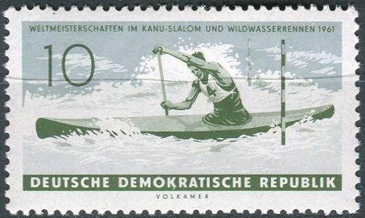 (1961) MiNr. 838 ** - DDR - Mistrovství světa v slalomu na kánoi a závodě na bílé vodě, červené Weisseritz nedaleko Drážďan