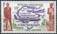 """(1962) MiNr. 22 ** - Centrální Afrika - Založení letecké společnosti """"Air Afrique"""" (1961)"""