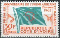 (1962) MiNr. 243 ** - Pobřeží slonoviny - Côte d'Ivoire - 1 rok africko-malgašská unie