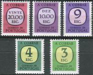 (1975) MiNr. 80 - 84 ** - Portugalsko - Portomarken - čísla v zaobleném čtverci