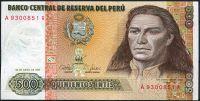 Peru - (P134b) 500 INTIS 1987 - UNC (tisk BDDR)