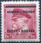 (1939) č. 9 ** - B.u.M. - 1 Kč - přetisková série - T. G. Masaryk