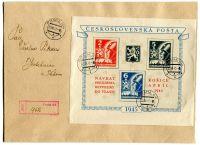 (1945) ČSR - R-dopis vyfr. A 360/2 první den platnosti! + pod. lístek