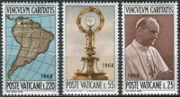 (1968) MiNr. 538 - 540 ** - Vatikán - 39. světový kongres Eucharistie, Bogotá