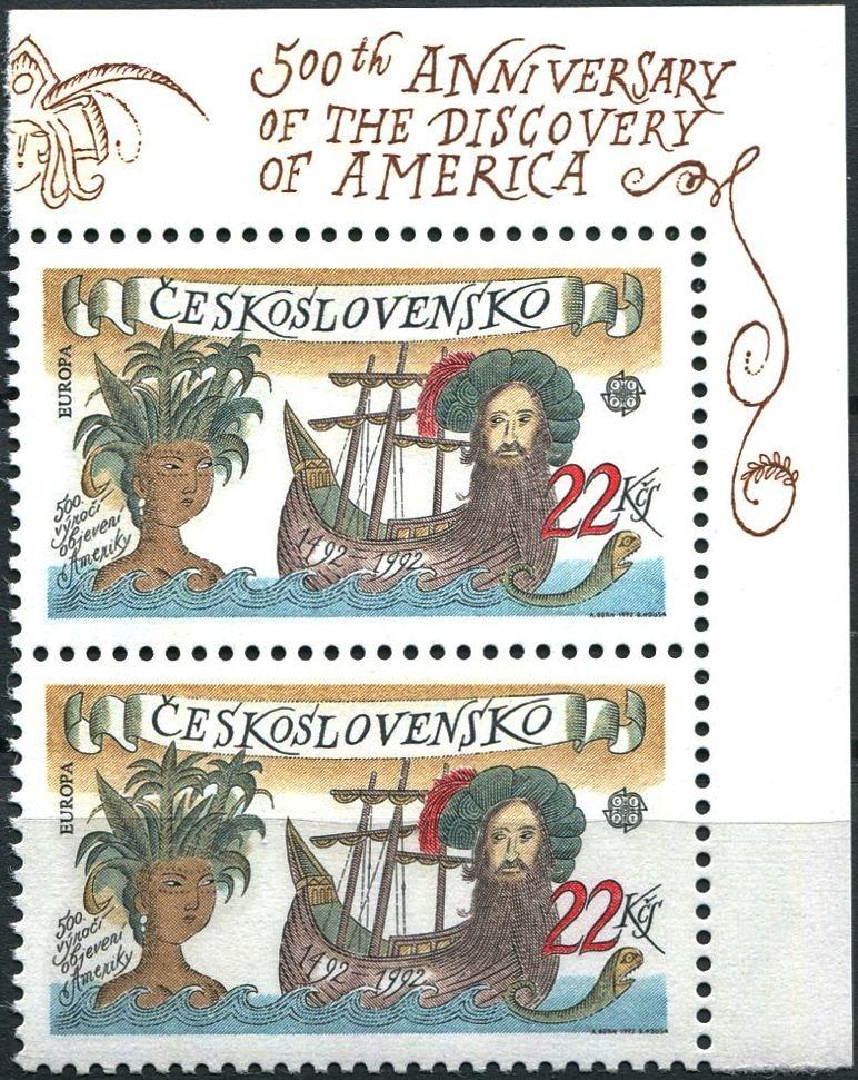 (1992) č. 3006 ** - sp - ČSSR - 500. výročí objevení Ameriky - CEPT