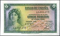 Španělsko - (P 85a) 5 Peseta (1935) - UNC