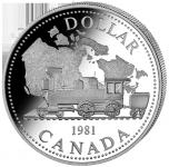 (1981) Kanada - 1 Dollar (Ag 500/1000) - Železnice (UNC)